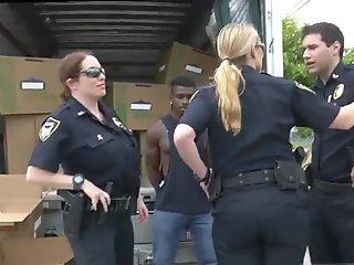 Blond mature fucking two Black suspect taken on a tough ride