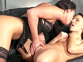 Lesbian Milf in hot lingerie gets licked on sofa