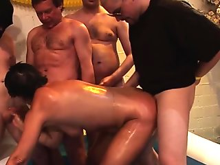 Mature amateur in group