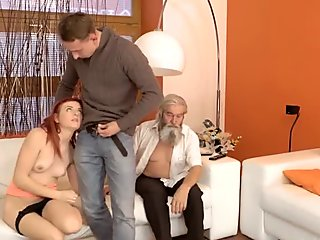 DADDY4K. Adorable Vanessa comes closer to her boyfriend   s bearded dad